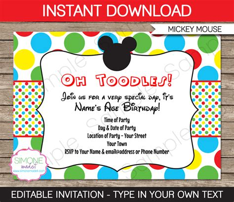mickey mouse clubhouse templates 7 best images of mickey mouse printable invitations