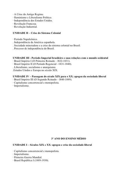 PROGRAMA DE HISTÓRIA 2009 CEN 6º ANO DO EF AO 3º ANO DO EM II
