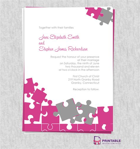 Wedding Invitation Jigsaw Puzzle jigsaw puzzle wedding invite wedding invitation