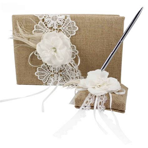 Jute Burlap Wedding Guest Book and Pen Set with Floral