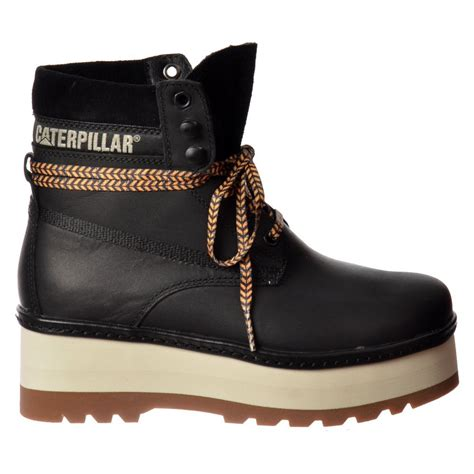 cat high hopes lace up ankle combat boot black honey