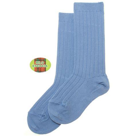 blue socks smooth cotton knee high blue rib socks cachet