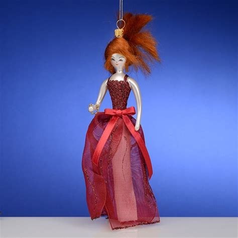 de carlini red hair lady  red dress christmas ornament