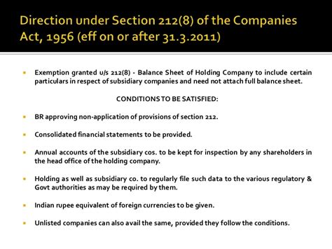 section 212 statement mca circulars notifications