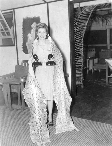 Martha Raye Wrapped in python skin in Africa during WW II