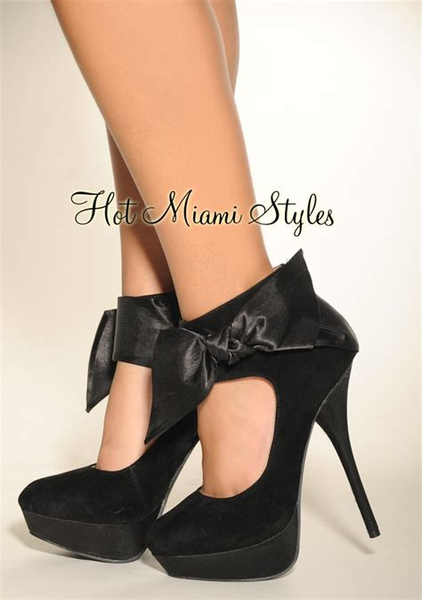 Bow High Heel Pumps black satin bow high heel pumps