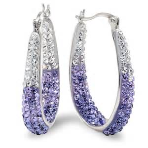sterling silver purple and white hoop earrings with