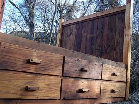 buy a made 12 drawer rustic reclaimed wood platform storage bed made to order from the