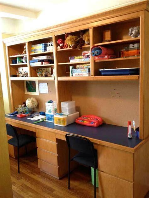 custom double office desk  hutch