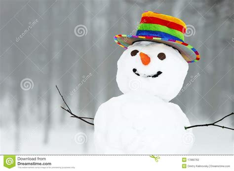 winter funny snowman stock photography image
