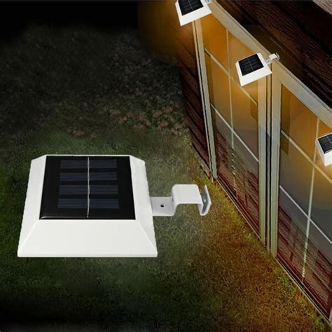 solar powered 4 led fence gutter light outdoor yard wall