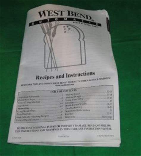 bread maker recipe book ebay west bend 2lb automatic bread dough maker model 41098 w