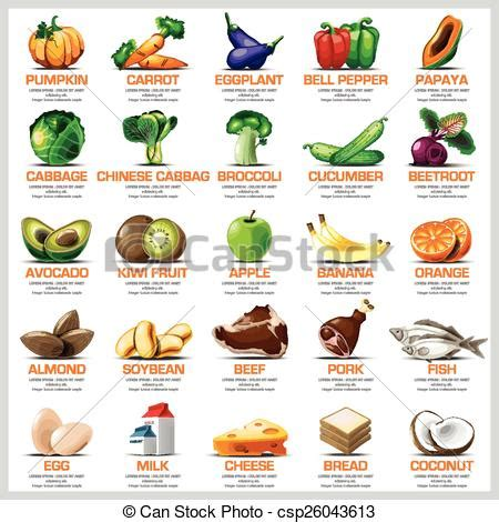 protein v asia ingredients icons set vegetable fruit and for