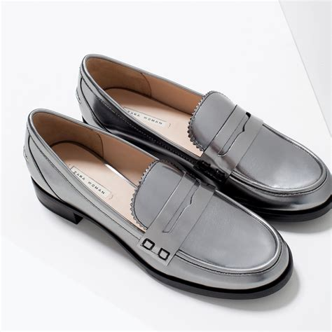 silver loafers zara shiny loafers shiny loafers in silver lyst