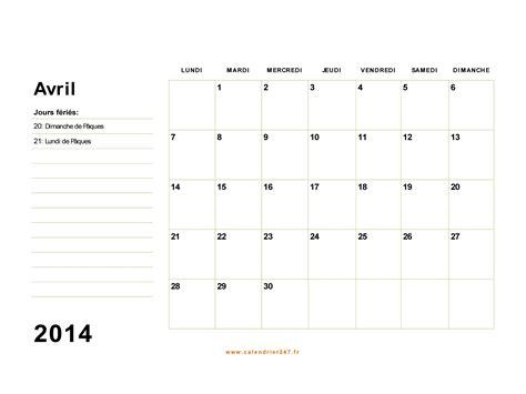 Calendrier Avril 2014 Calendrier Avril 2014 224 Imprimer Gratuit En Pdf Et Excel