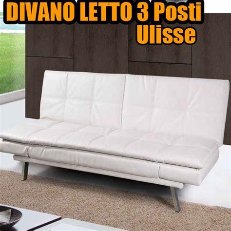 divano letto bianco divano letto 3 posti imbottito rivestito ecopelle base in