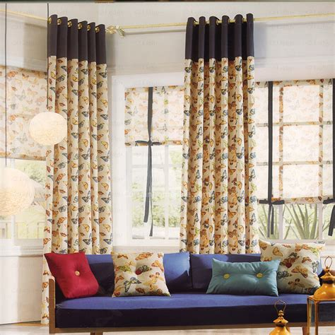 country curtains fabric linen cotton fabric butterfly country curtains 2016 new