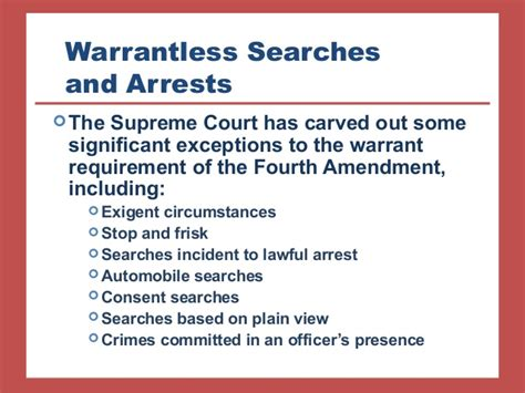 Exceptions To Search Warrant Chapter 8
