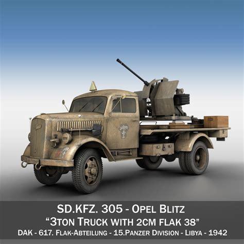 opel blitz opel blitz with 2cm flak 38 dak 3d model buy opel