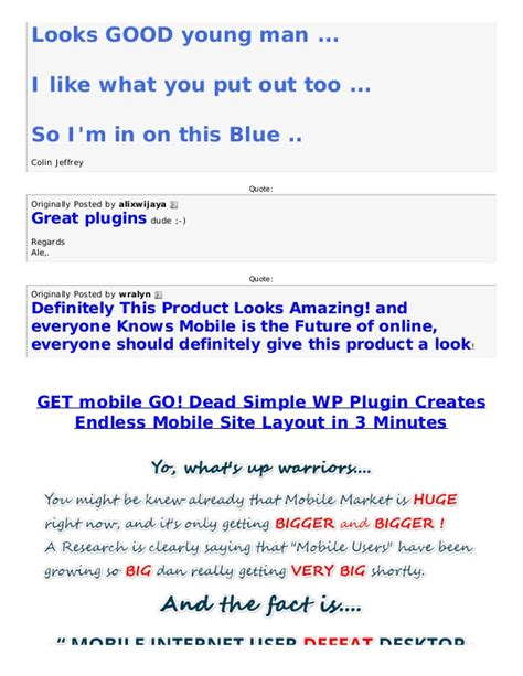 mobile layout wordpress plugin get mobile go dead simple wp plugin creates endless