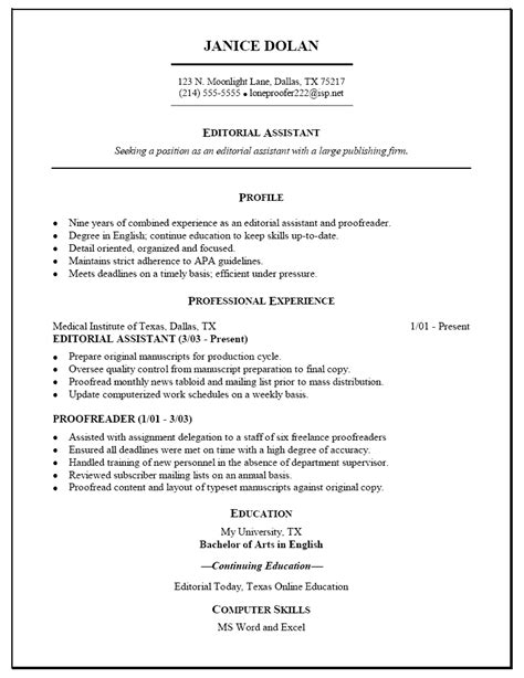 resume sle for editorial assistant proofreader resume
