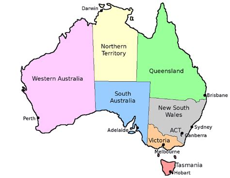 map of australia with states australia