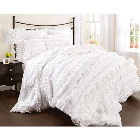 white queen bedding lush decor belle 4 piece comforter set queen white better