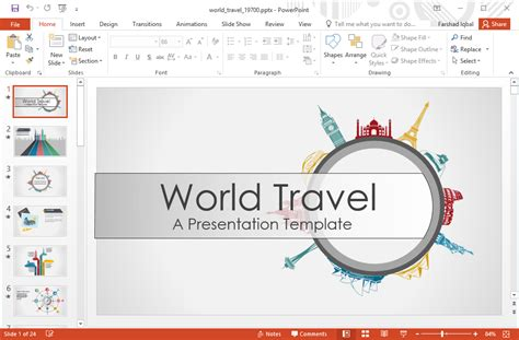 Template Powerpoint Travel Animated World Travel Powerpoint Template