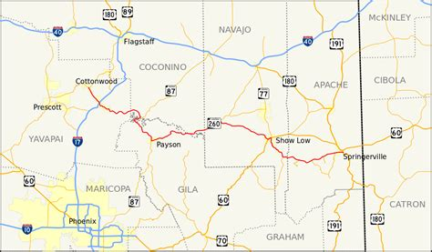 arizona highway conditions map file arizona state route 260 map svg