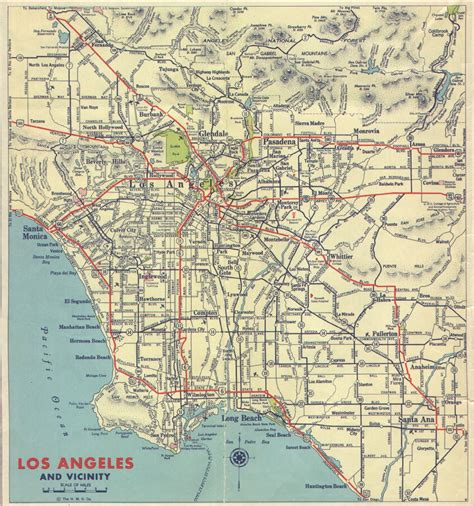 map of los angeles area 1939 california and cities southern california regional rocks and roads