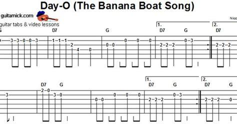 banana boat song e chords banana boats tablature and guitar on pinterest
