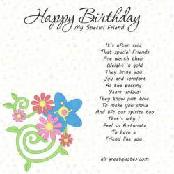 special friend birthday verses for cards special friend birthday quotes quotesgram