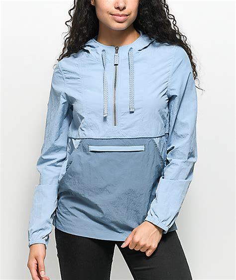 light blue womens carhartt jacket zine sabra light blue jacquard pullover windbreaker jacket