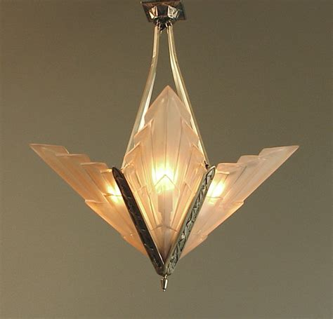 French Art Deco Degue Chandelier With Geometric Peach Deco Chandelier