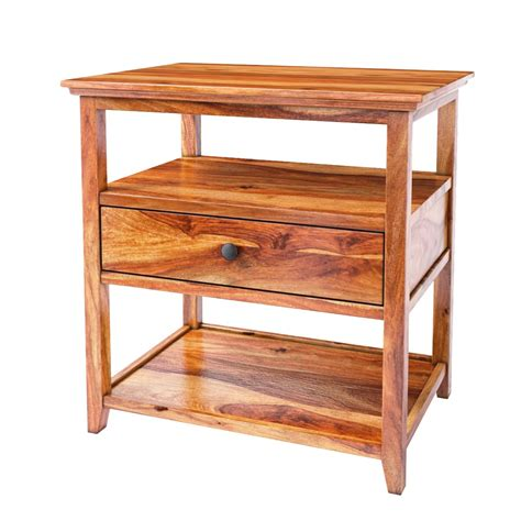Solid Wood Nightstand Mission Modern Solid Wood 3 Tier Nightstand Table W Drawer