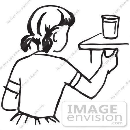 clipart of a girl reaching for a cup in black and white