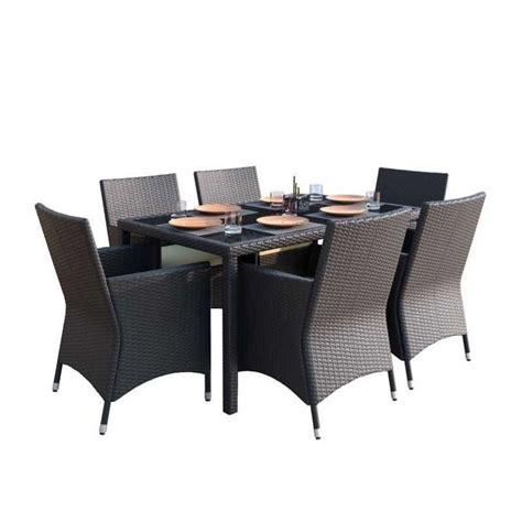 7 wicker patio set 7 wicker patio dining set in black z 506 tpp