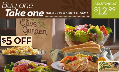 u order olive garden to go olive garden takeout deal 5 30 to go order stack with buy 1 get 1 free entree