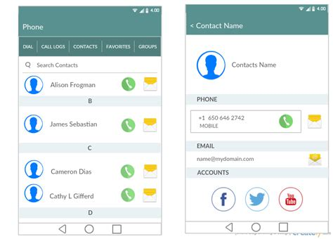 contacts app for android android mockup templates for app prototypes creately