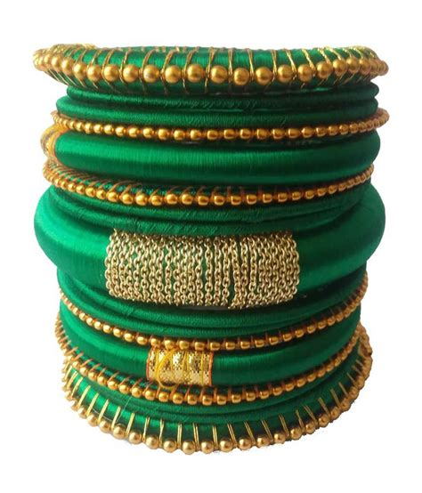 Handmade Bangles - kuhuk green mix and match silk thread handmade bangles set