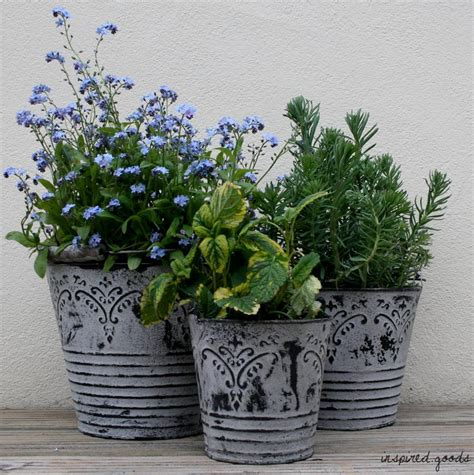 shabby chic french grey metal buckets planters vintage garden plant pots tubs ebay