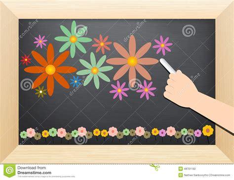 flower design education flower and hand on blackboard stock vector image 48701192