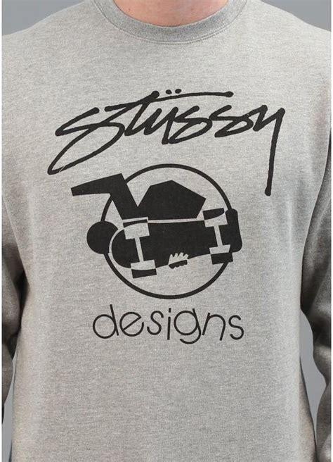 stussy skate design crew neck jumper grey triads