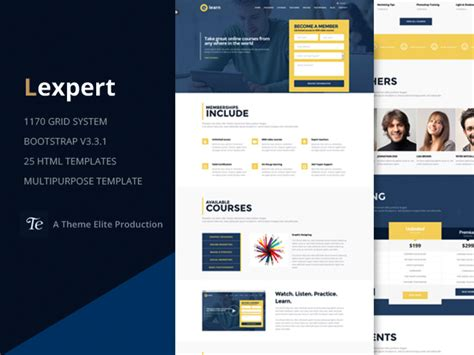 e learning bootstrap templates e learn onepage bootstrap education html designstub