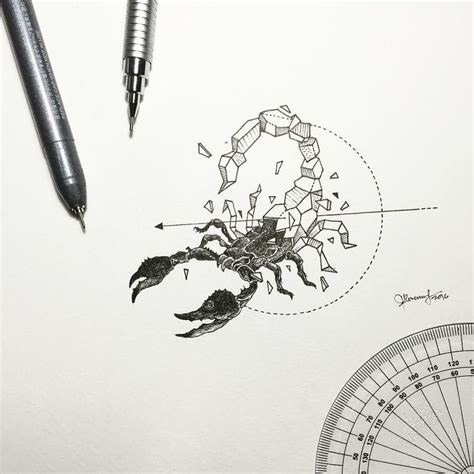 line tattoo manila geometric beasts scorpion by kerbyrosanes