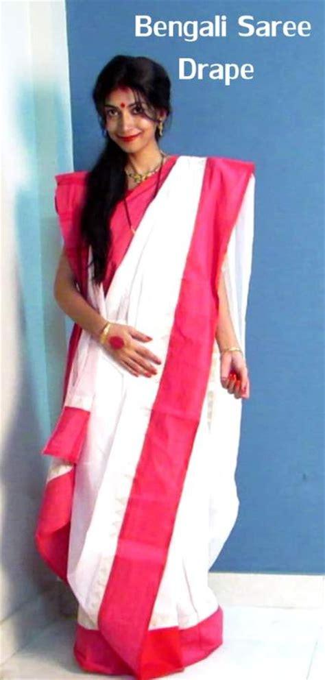 bengali saree draping indian youtuber presents durga puja traditional bengali look