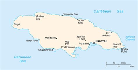 jamaica map with cities list of cities and towns in jamaica