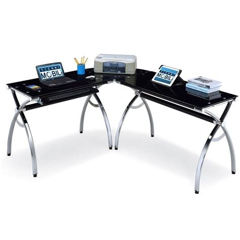 L Shaped Glass Top Computer Desk Techni Mobili Dachia L Shape Glass Top Computer Desk Rta 3802 Gls