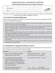 behavior plan templates behavior modification plan template 5 free word pdf