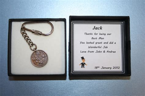 personalised wedding gift box lucky sixpence keyring page